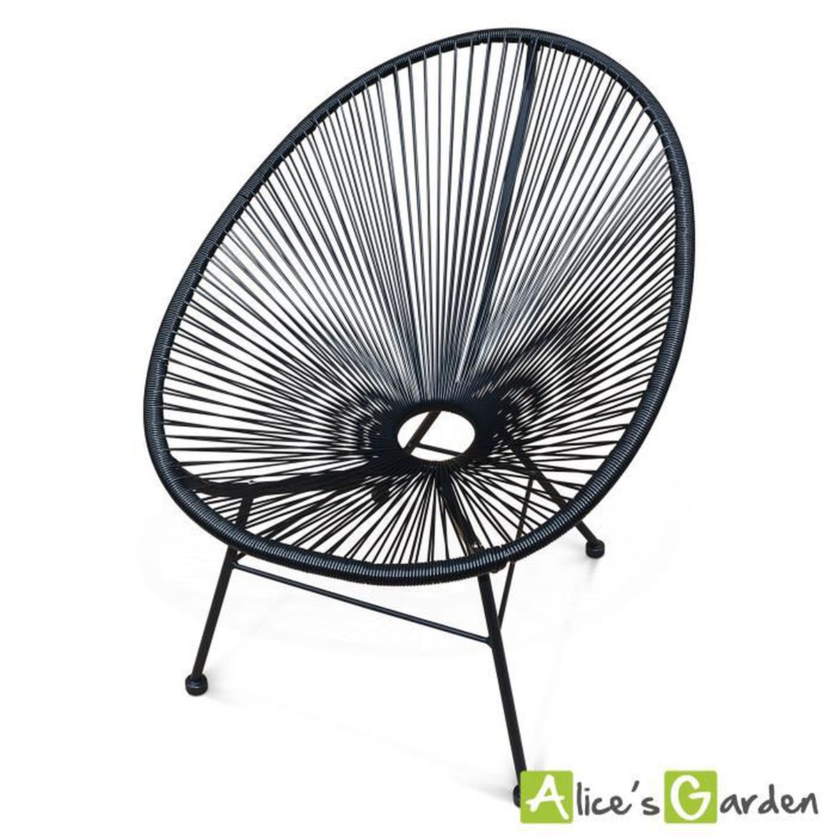 fauteuil acapulco chaise uf design r tro cordage noir achat vente fauteuil jardin fauteuil. Black Bedroom Furniture Sets. Home Design Ideas