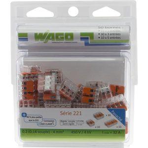 WAGO Pack de 50 Bornes de connexion universelle tous conducteurs - Type 221/2-3-5 entrées