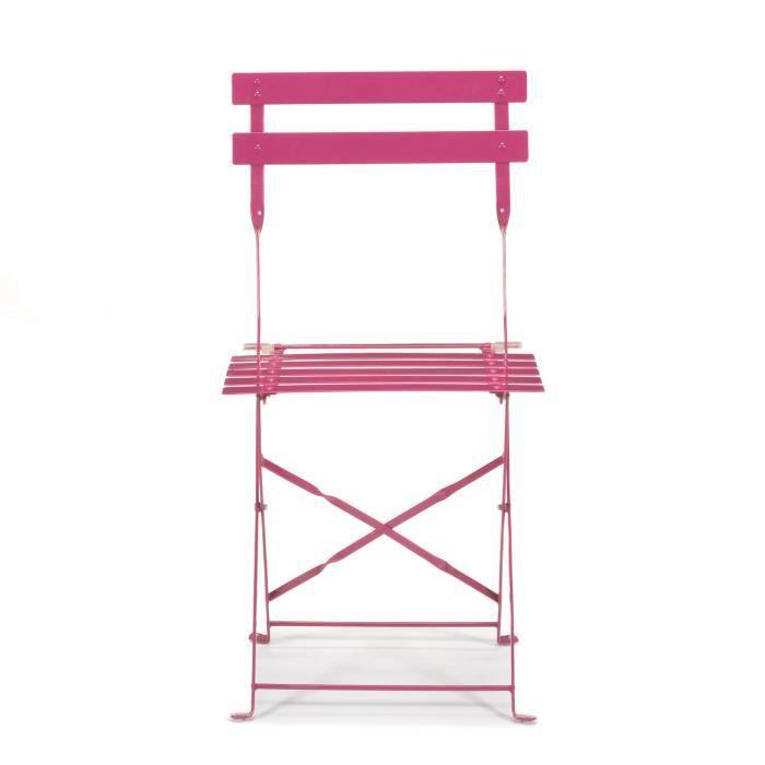Pims chaise de jardin pliante framboise en acier rose - Chaise pliante rose ...
