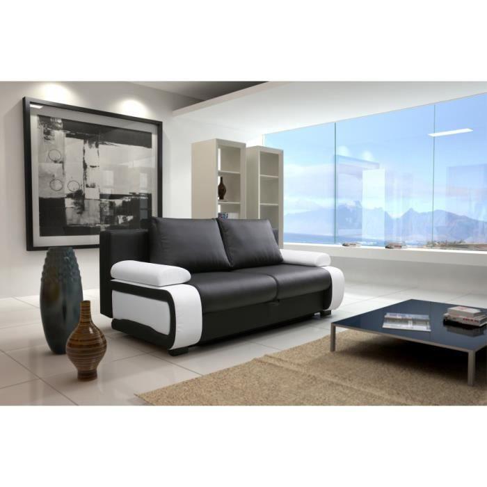 canap convertible zenek pvc noir blanc sofa divan achat vente canap sofa divan cdiscount. Black Bedroom Furniture Sets. Home Design Ideas