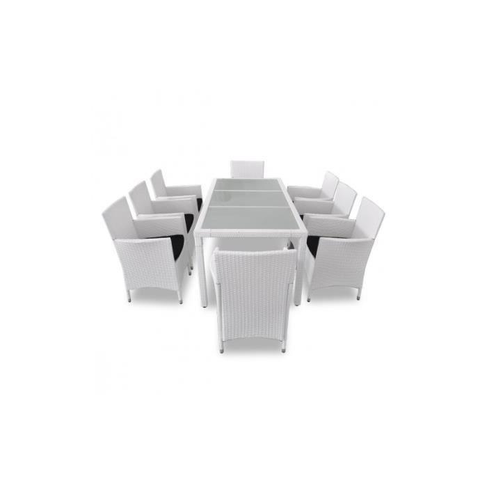 Salon De Jardin Blanc En R Sine Tress E 8 Chaises 1 Table Achat Vente Salon De Jardin Salon
