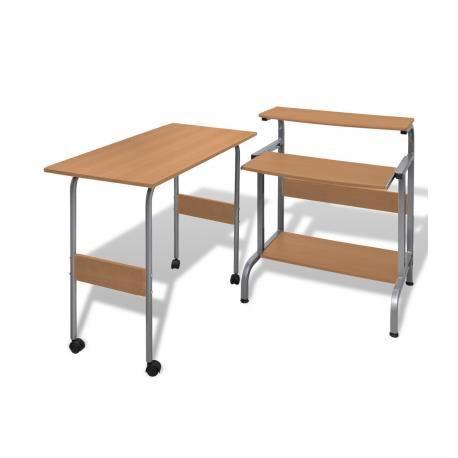 table de bureau r 233 glable brun pour ordinateur avec roulettes achat vente bureau table de