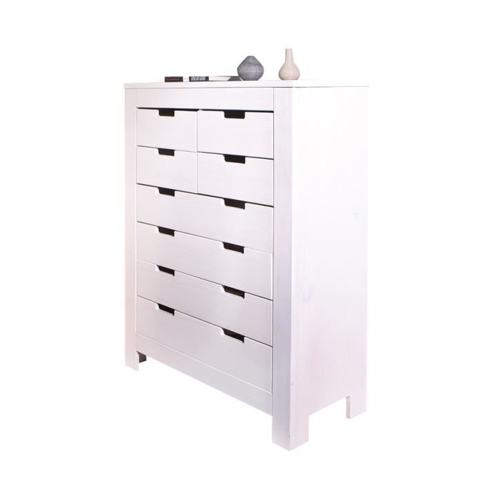 Genova meuble blanc 8 tiroirs achat vente commode for Meuble ceruse blanc technique