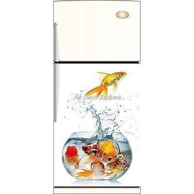 Sticker frigo d co cuisine aquarium 60x90cm r f achat for Deco cuisine annee 60