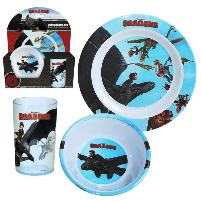 dragons enfants m lamine de vaisselle petit d jeuner assiette bol tasse achat vente. Black Bedroom Furniture Sets. Home Design Ideas