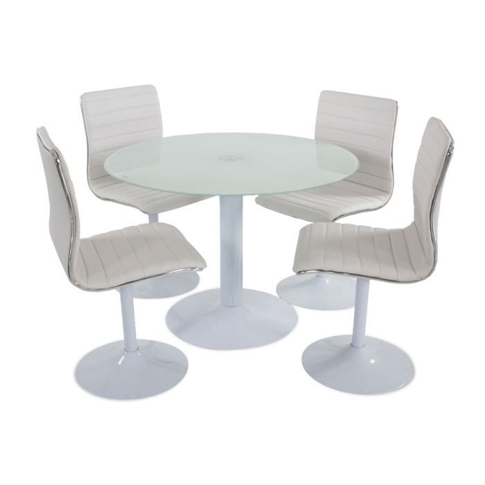 Table manger blanche alix 4 chaises achat vente for Table a manger blanche