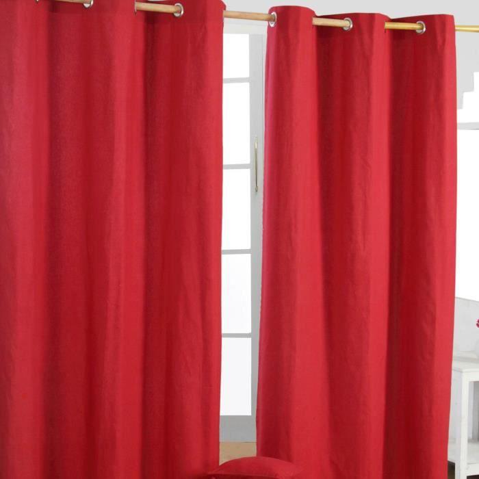 paire de rideaux oeillets uni rouge 100 coton 137 x 228. Black Bedroom Furniture Sets. Home Design Ideas