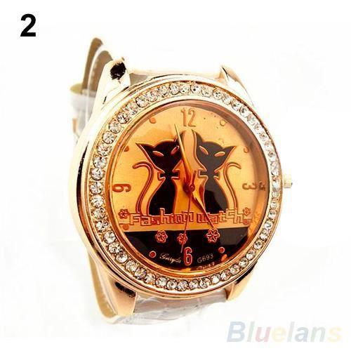 Femme homme montre strass cadran avec deux chats noirs comme d coration bracelet en simili cuir for Montre decoration