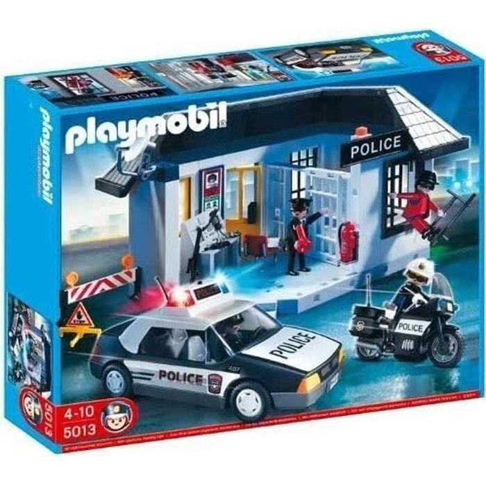 Playmobil 5013 commissariat et v hicule de police achat vente univers miniature cdiscount - Playmobil camion police ...