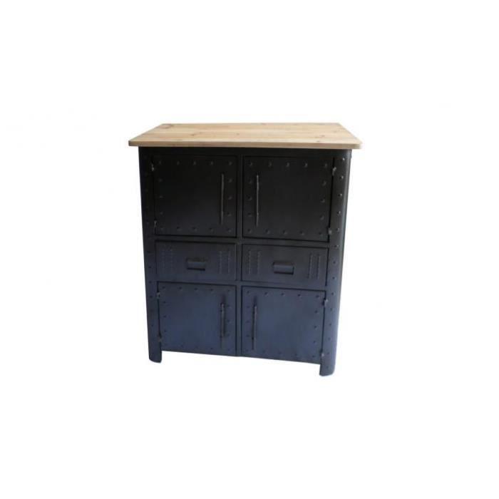 buffet en m tal 4 portes et 2 tiroirs faber achat vente buffet bahut buffet en m tal 4. Black Bedroom Furniture Sets. Home Design Ideas