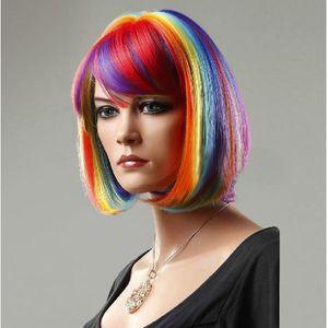 chapeau perruque color bob arc synthtique perruque cheveux courts - Perruque Colore