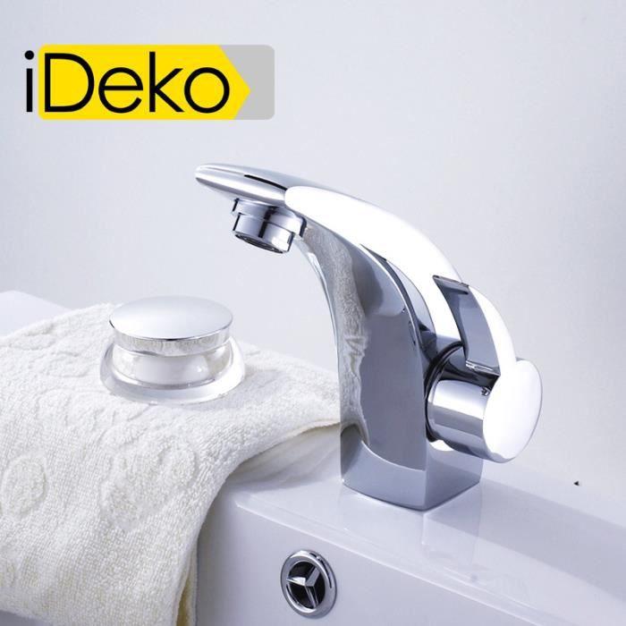 ideko robinet mitigeur lavabo salle de bain c ramique en laiton moderne chrome flexible. Black Bedroom Furniture Sets. Home Design Ideas