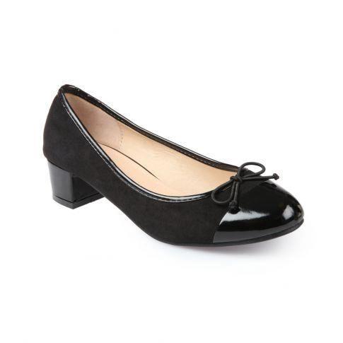 Ballerines bout rond talon noir achat vente - Meuble a chaussure rond ...