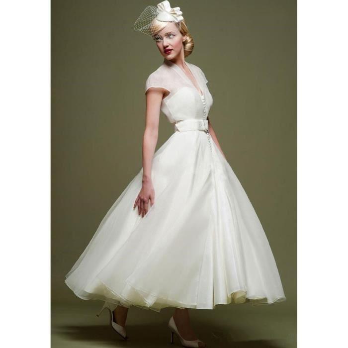 Nouveauté Robe de soirée mariage mariée courte avec manche vintage ...