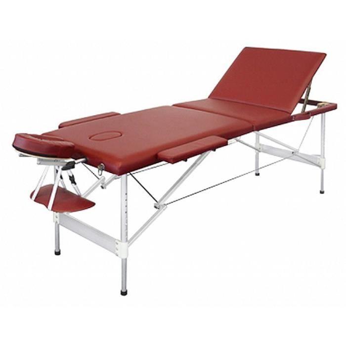 table de massage pliante avec 3 zones en alu rouge achat. Black Bedroom Furniture Sets. Home Design Ideas