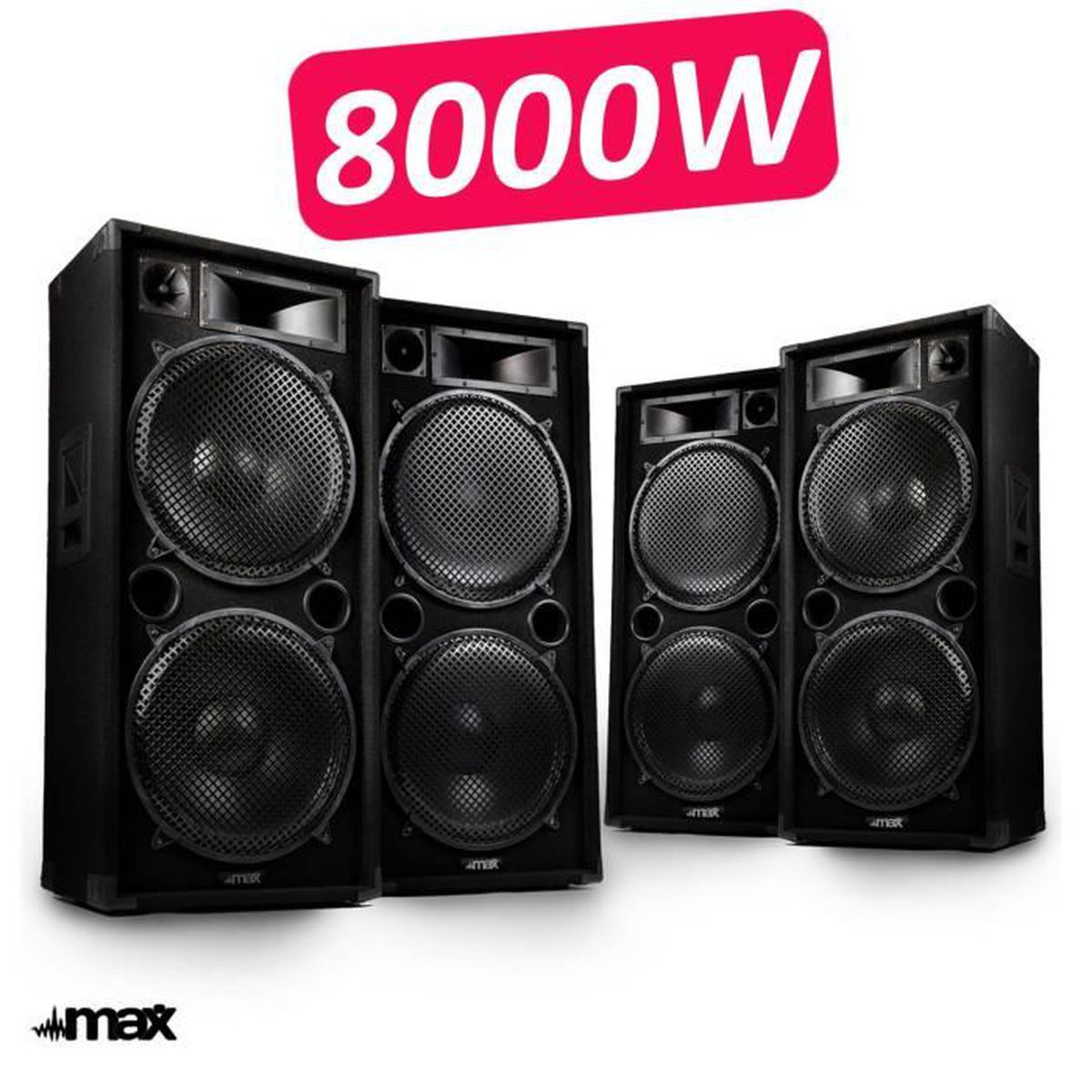 double paires d 39 enceintes sonorisation 8000w pro dj max 215 full range 8x38cm pack sono avis. Black Bedroom Furniture Sets. Home Design Ideas