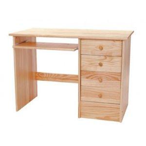 Bureau avec 4 tiroirs et 1 r glette informatiqu achat for Bureau informatique en pin