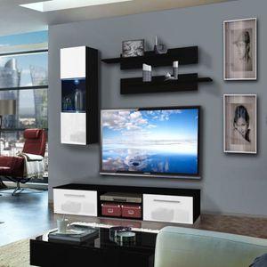 Meuble tv blanc 180 cm achat vente meuble tv blanc 180 for Meuble tv mural 180 cm