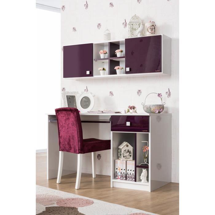 bureau design blanc et mauve laqu 1 tiroir achat vente bureau b b enfant cdiscount. Black Bedroom Furniture Sets. Home Design Ideas