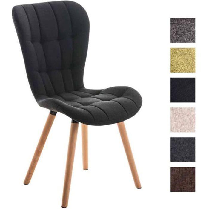 clp chaise salle manger de salon elda dossier haut pi tement en bois rev tement en tissu. Black Bedroom Furniture Sets. Home Design Ideas