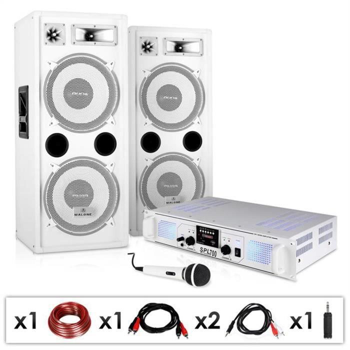 electronic star dj 22 pack sono pro pour set dj pa avec ampli 2 canaux 2 enceintes 3 voies. Black Bedroom Furniture Sets. Home Design Ideas