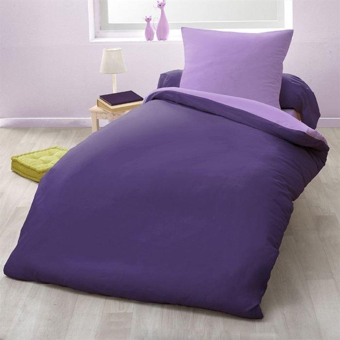 casatxu parure de couette 140x200cm violet parme achat vente parure de couette cdiscount. Black Bedroom Furniture Sets. Home Design Ideas