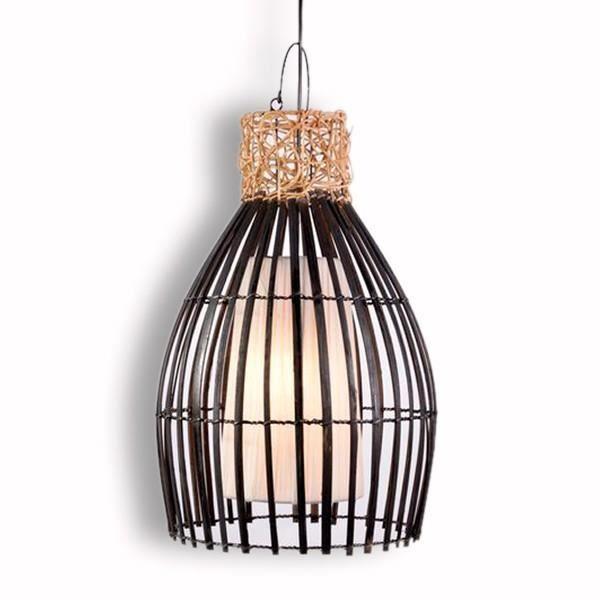 suspension en bambou et rotin h 52 cm achat vente suspension en bambou et rotin cdiscount. Black Bedroom Furniture Sets. Home Design Ideas