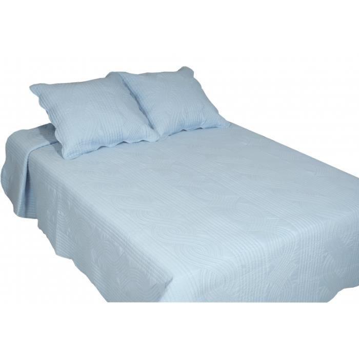 couvre lit boutis collection smart uni 2 places azur grande largeur bleu achat vente jet e. Black Bedroom Furniture Sets. Home Design Ideas