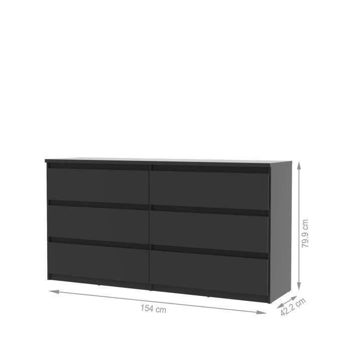 Finlandek commode natti 154cm noir achat vente commode de chambre finlandek commode noire - Chambre meuble noir ...
