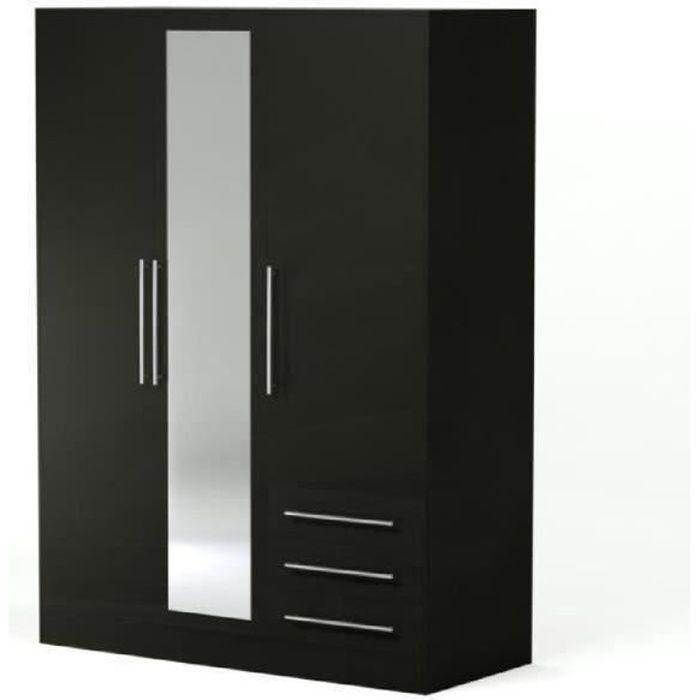 jupiter armoire 145 cm noire achat vente armoire de chambre jupiter armoire 145x200 cm bois. Black Bedroom Furniture Sets. Home Design Ideas