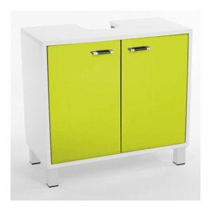 Meuble de salle de bain blanc laque achat vente meuble for Meuble dessous lavabo