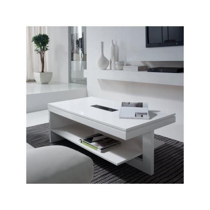 Table basse relevable blanc laqu zalo blanc achat vente table basse ta - Table basse relevable blanc laque ...