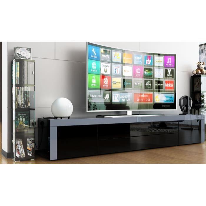 Meuble tv noir laqu noir gris 200cm achat vente - Meuble noir laque ...