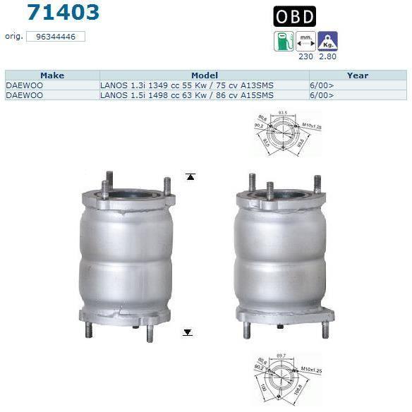 pot catalytique pour daewoo lanos 1349 cc 55 achat vente pot catalytique pot. Black Bedroom Furniture Sets. Home Design Ideas