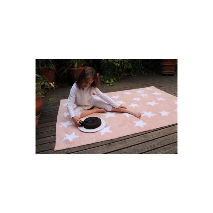 tapis pour b b rose lavable en machine stars white lorena canals 120x160cm rose achat. Black Bedroom Furniture Sets. Home Design Ideas