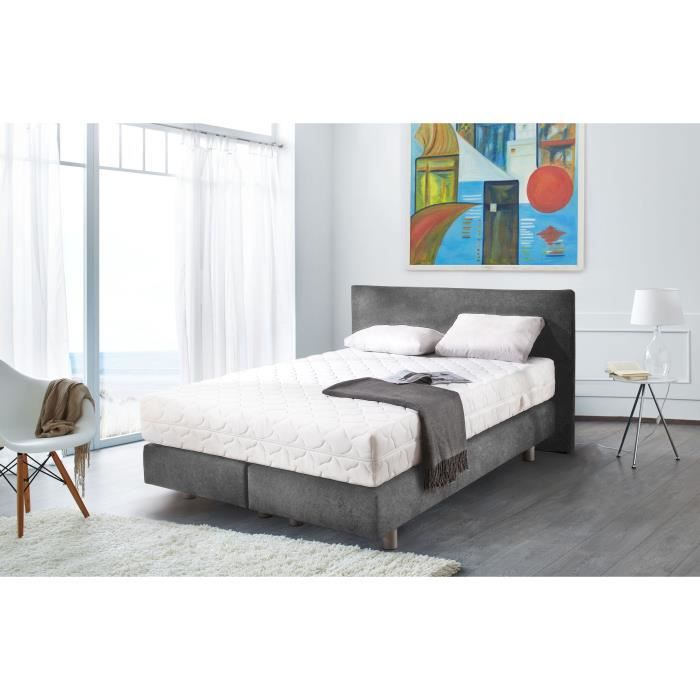 sleepwell lit adulte avec t te de lit matelas ressorts sommier 140x200 cm gris achat. Black Bedroom Furniture Sets. Home Design Ideas