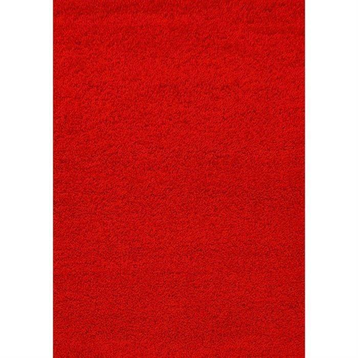 Tapis Shaggy Déco Rouge 80x140 40mm Achat / Vente tapis 100 %