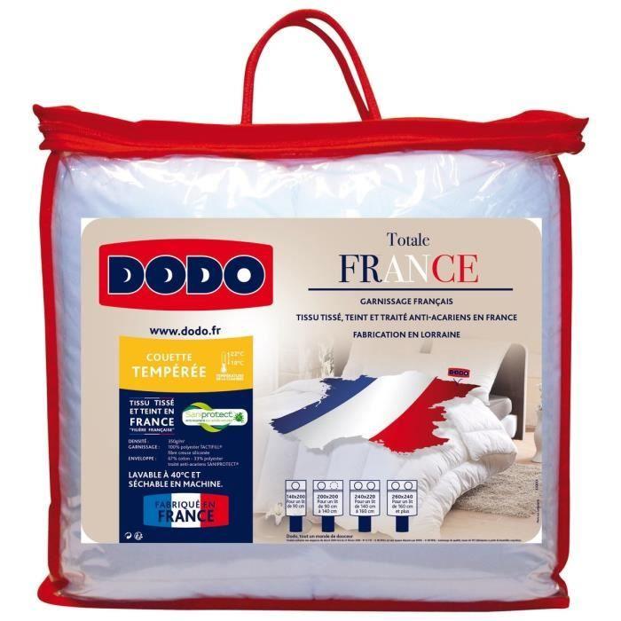 Dodo couette temp r e 350 gr m anti acariens totale france 140x200 cm blanc achat vente - Couette dodo hollofil eco 2 ...