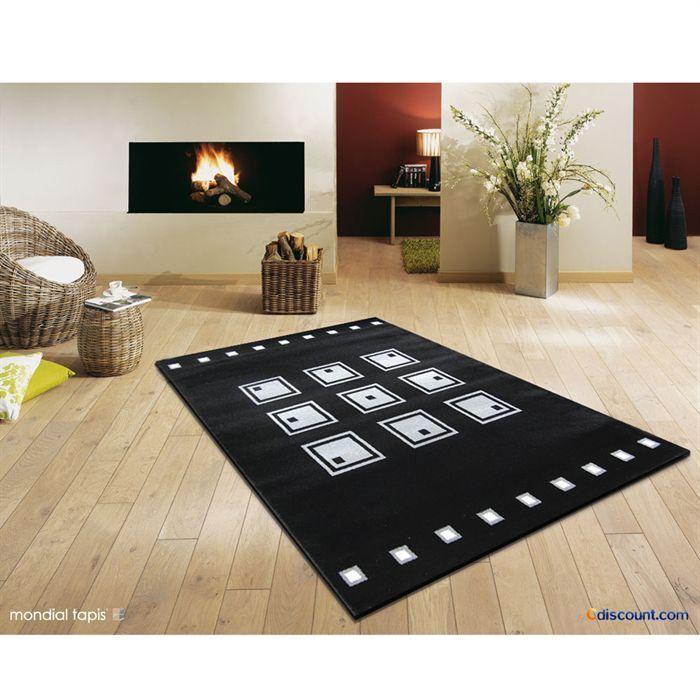 emily tapis 755 noir gris 80x140cm achat vente tapis cdiscount. Black Bedroom Furniture Sets. Home Design Ideas
