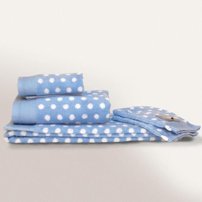parure de bain 6 pi ces domino bleu 550 g m2 achat. Black Bedroom Furniture Sets. Home Design Ideas