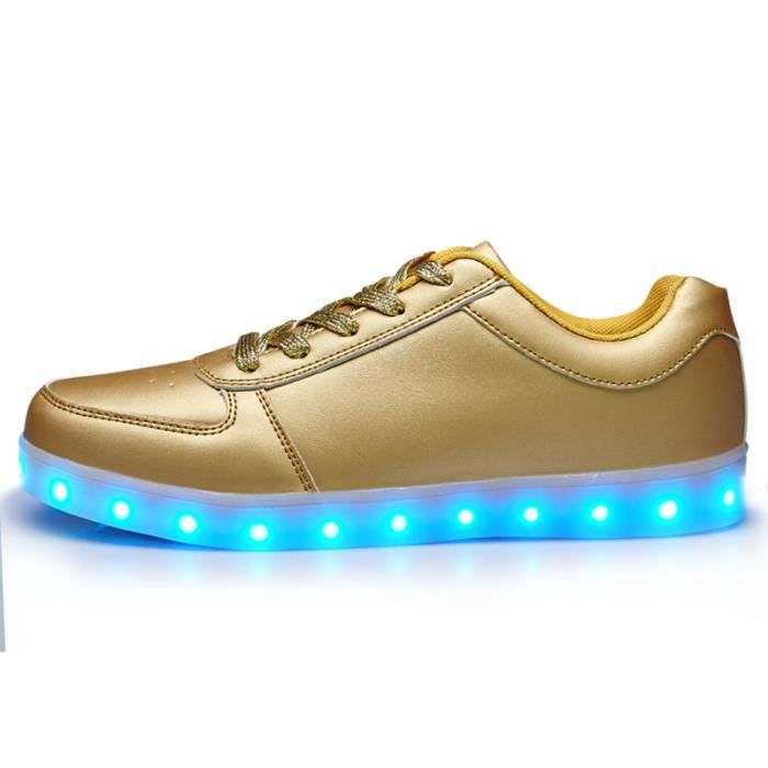 BASKET Chaussures or unisexe LED multicolores clignotante. \u2039\u203a