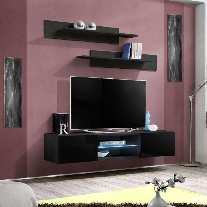 paris prix meuble tv mural design fly iii 160cm noir achat vente meuble tv paris prix. Black Bedroom Furniture Sets. Home Design Ideas
