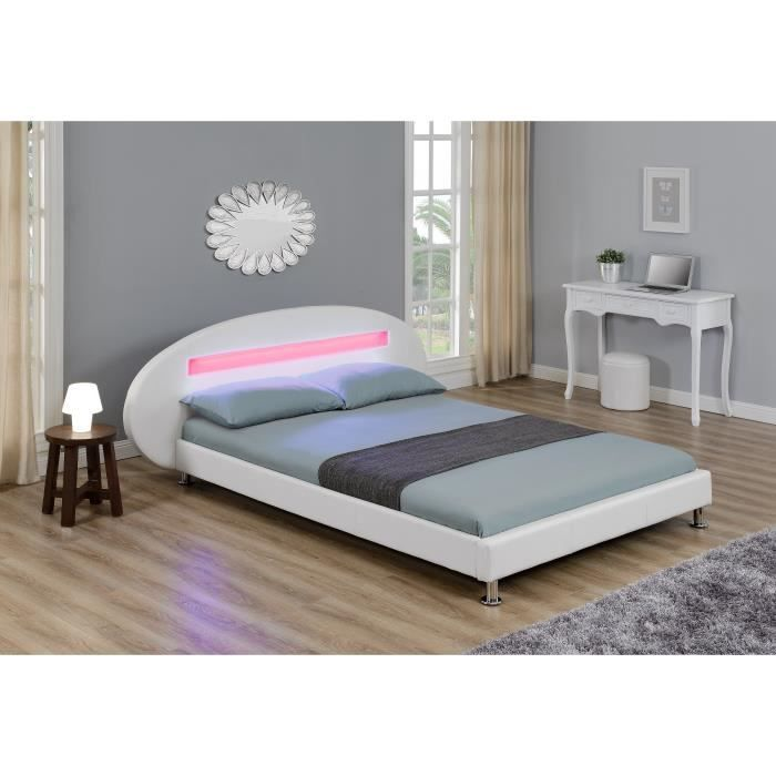 orion lit led adulte 140x190 cm blanc achat vente structure de lit orion lit 140x190 blanc. Black Bedroom Furniture Sets. Home Design Ideas