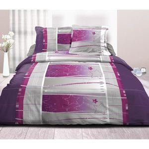 Parure drap plat 2 personnes en coton achat vente - Drap housse 140x190 violet ...