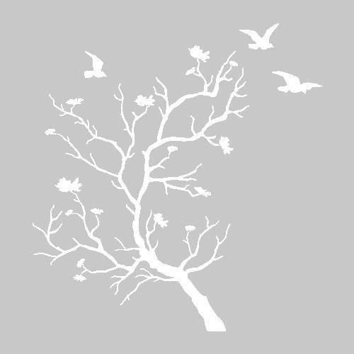 Stickers porte manteau arbre oiseaux pat re murale 2 for Stickers porte blanc