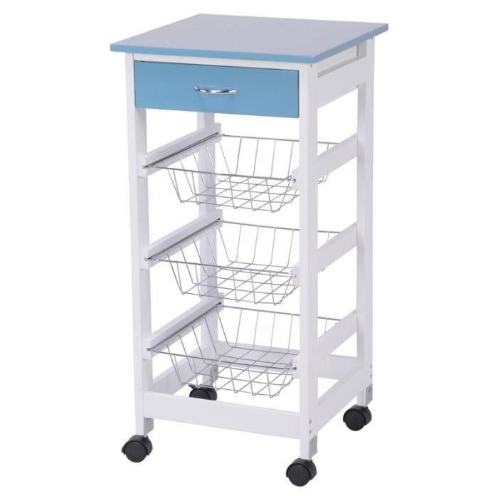 chariot de cuisine en bois avec tiroirs et 3 paniers achat vente desserte billot chariot. Black Bedroom Furniture Sets. Home Design Ideas