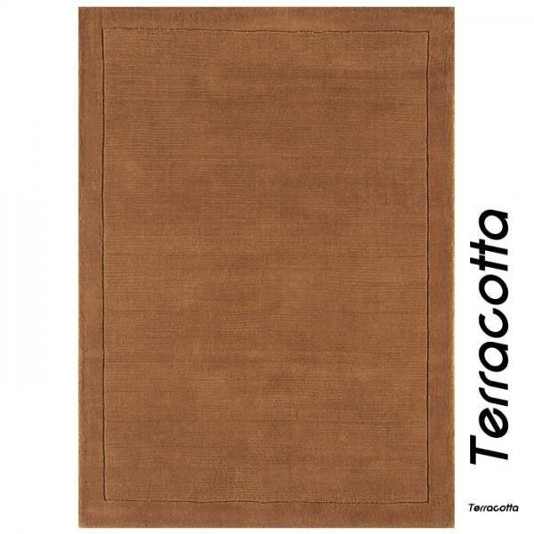 Tapis contemporain terracotta en laine uni york achat vente tapis cdis - Tapis laine contemporain ...