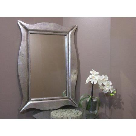 Miroir moderne en bois patin argent 70 x 100cm achat for Miroir gris argent