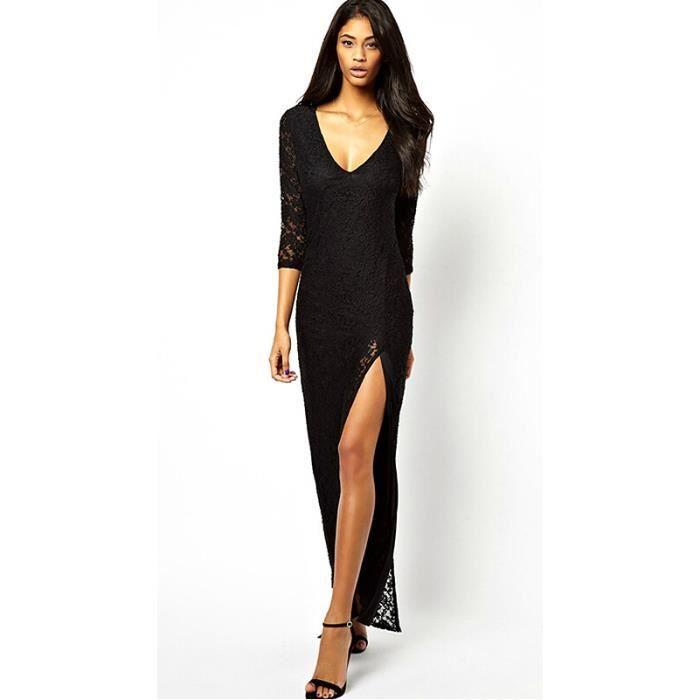 rouge noir robes longues robes pas cher rouge achat vente robe soldes d t cdiscount. Black Bedroom Furniture Sets. Home Design Ideas