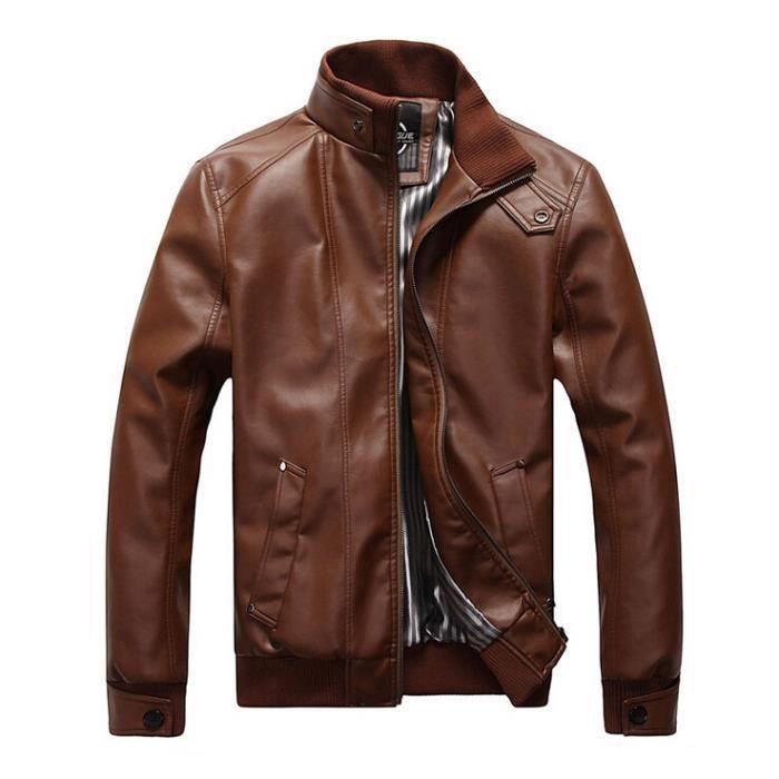 surprise blouson en cuir homme moto manteau hiver jacket mode casual veste brun coffee achat. Black Bedroom Furniture Sets. Home Design Ideas
